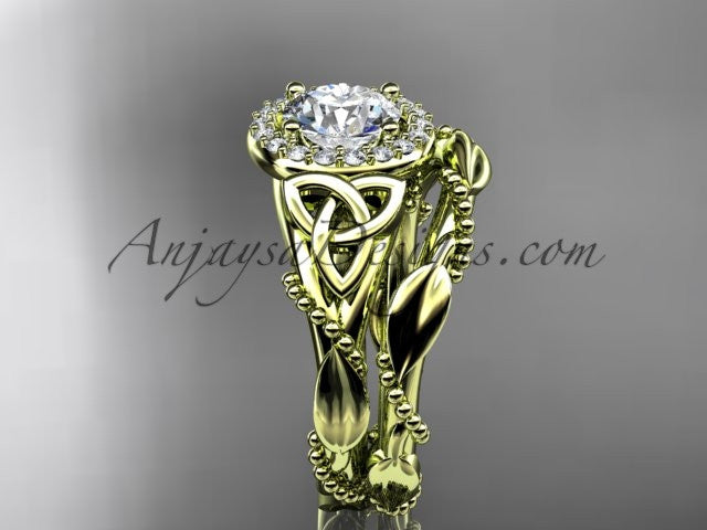 "14kt yellow gold diamond celtic trinity knot wedding ring, engagement set with a ""Forever One"" Moissanite center stone CT7328S - AnjaysDesigns"