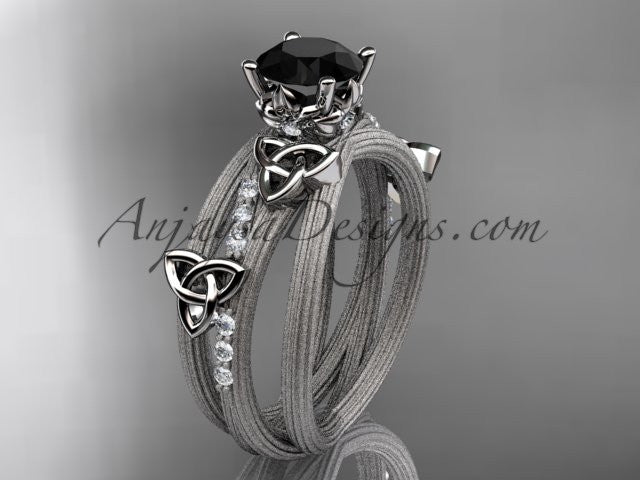 14kt white gold diamond celtic trinity knot wedding ring, engagement ring with a Black Diamond center stone CT7329 - AnjaysDesigns