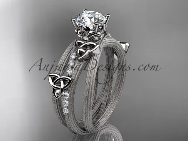 "platinum diamond celtic trinity knot wedding ring, engagement ring with a ""Forever One"" Moissanite center stone CT7329 - AnjaysDesigns"