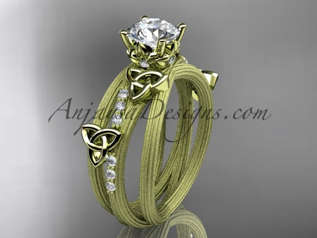 14kt yellow gold diamond celtic trinity knot wedding ring, engagement ring CT7329 - AnjaysDesigns