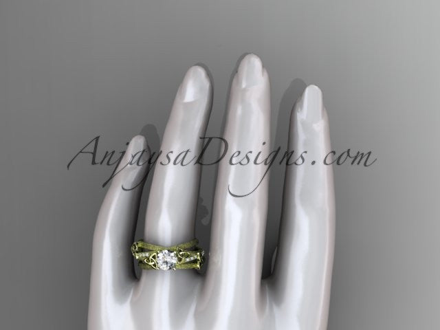 "14kt yellow gold diamond celtic trinity knot wedding ring, engagement ring with a ""Forever One"" Moissanite center stone CT7329 - AnjaysDesigns"
