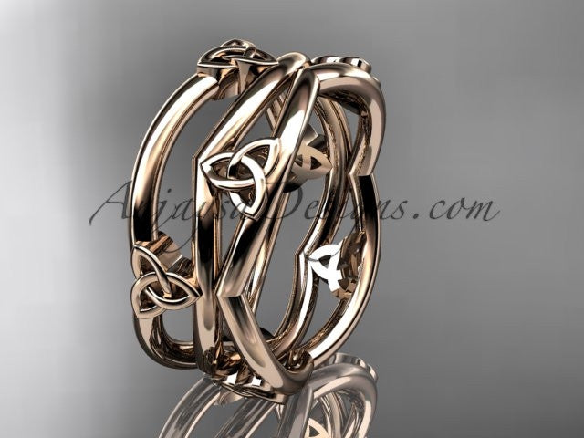 14kt rose gold celtic trinity knot wedding band, engagement ring CT7350G - AnjaysDesigns