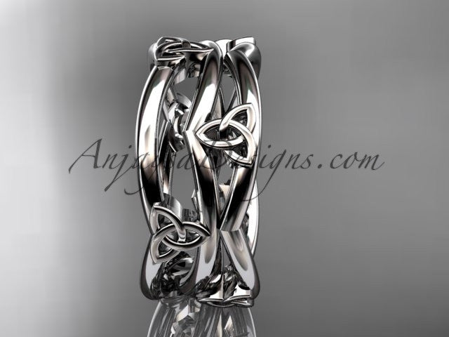 platinum celtic trinity knot wedding band, engagement ring CT7350G - AnjaysDesigns