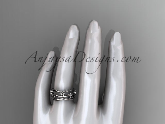 14kt white gold celtic trinity knot wedding band, engagement ring CT7350G - AnjaysDesigns