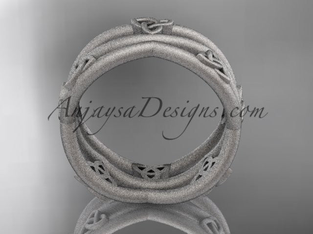 14kt white gold celtic trinity knot wedding band, matte finish wedding band, engagement ring CT7350G - AnjaysDesigns