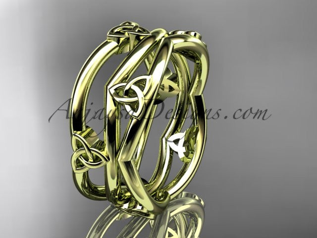 14kt yellow gold celtic trinity knot wedding band, engagement ring CT7350G - AnjaysDesigns