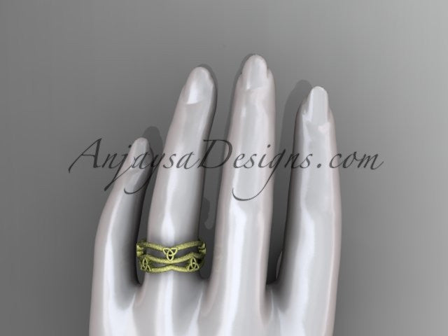 14kt yellow gold celtic trinity knot wedding band, matte finish wedding band, engagement ring CT7350G - AnjaysDesigns