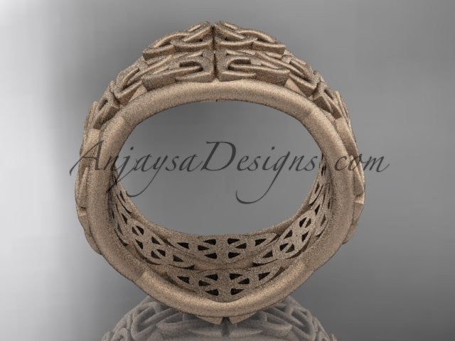 14kt rose gold celtic trinity knot wedding band, matte finish wedding band, engagement ring CT7352G - AnjaysDesigns