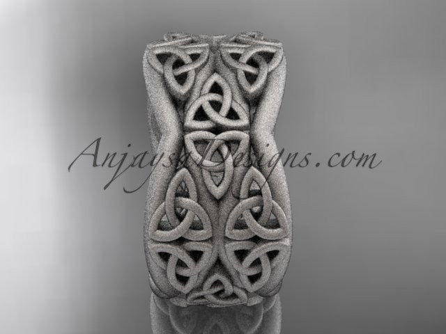 platinum celtic trinity knot wedding band, matte finish wedding band, engagement ring CT7352G - AnjaysDesigns