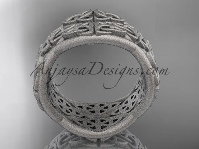 14kt white gold celtic trinity knot wedding band, matte finish wedding band, engagement ring CT7352G - AnjaysDesigns