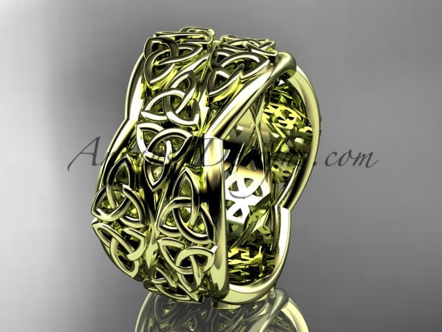 14kt yellow gold celtic trinity knot wedding band, engagement ring CT7352G - AnjaysDesigns