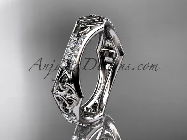 14kt white gold diamond celtic trinity knot wedding band, triquetra ring, engagement ring CT7353B - AnjaysDesigns