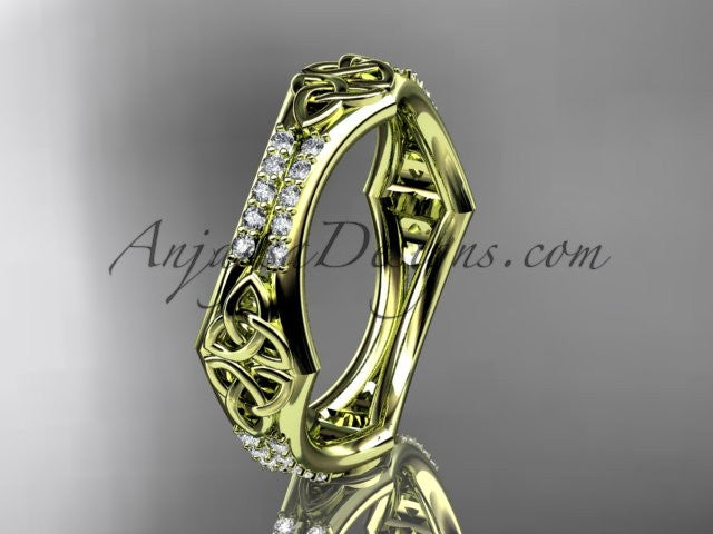 14kt yellow gold diamond celtic trinity knot wedding band, triquetra ring, engagement ring CT7353B - AnjaysDesigns