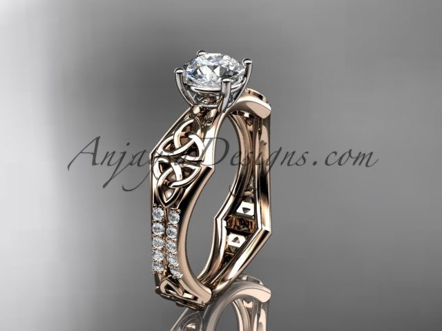 "14kt rose gold diamond celtic trinity ring, triquetra ring, engagement ring with a ""Forever One"" Moissanite center stone CT7353 - AnjaysDesigns"