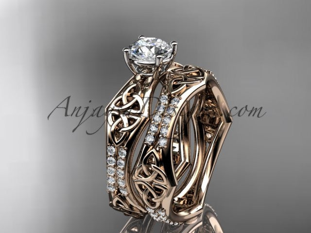 "14kt rose gold diamond celtic trinity ring, triquetra ring, engagement set with a ""Forever One"" Moissanite center stone CT7353S - AnjaysDesigns"