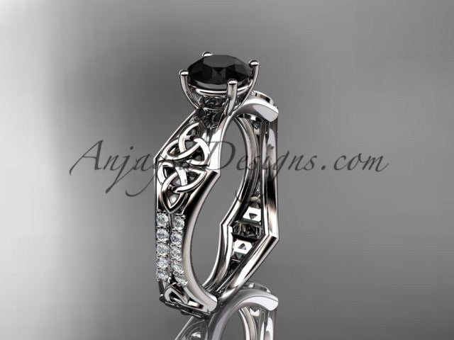 14kt white gold diamond celtic trinity ring, triquetra ring, engagement ring with a Black Diamond center stone CT7353 - AnjaysDesigns