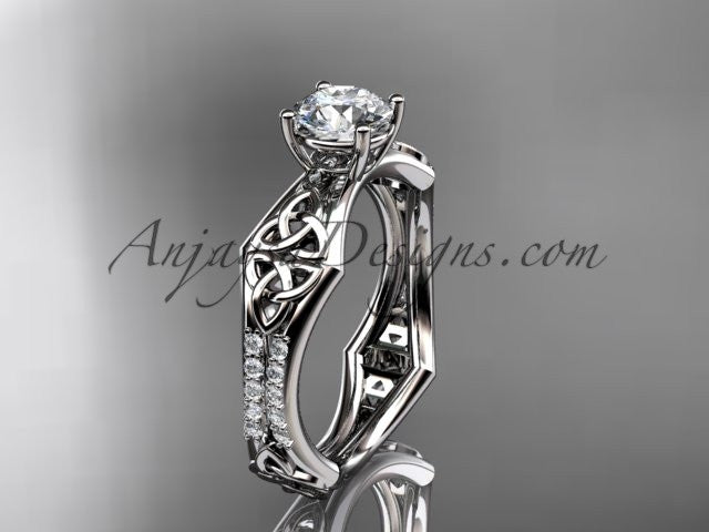 platinum diamond celtic trinity ring, triquetra ring, engagement ring, CT7353 - AnjaysDesigns