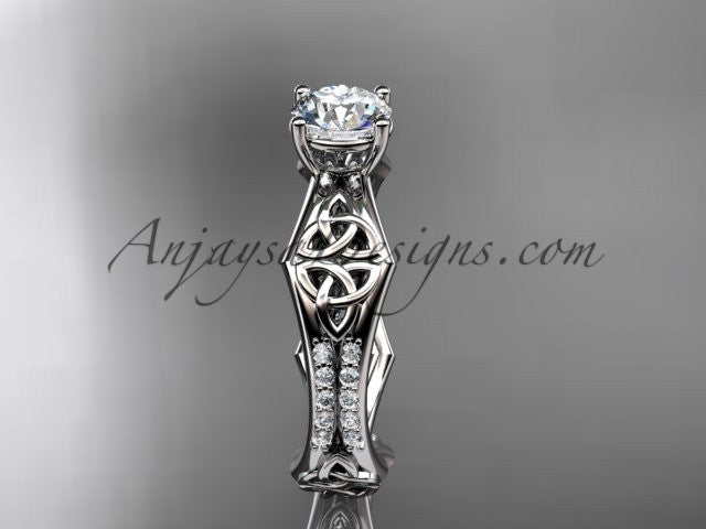 "platinum diamond celtic trinity ring, triquetra ring, engagement ring with a ""Forever One"" Moissanite center stone CT7353 - AnjaysDesigns"