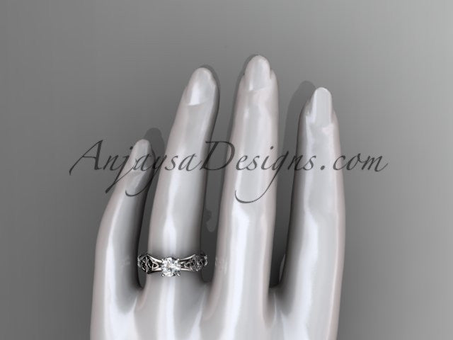 14kt white gold diamond celtic trinity ring, triquetra ring, engagement ring, CT7353 - AnjaysDesigns