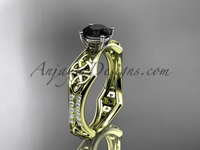 14kt yellow gold diamond celtic trinity ring, triquetra ring, engagement ring with a Black Diamond center stone CT7353 - AnjaysDesigns