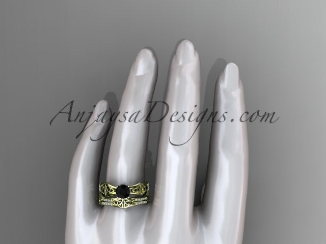 14kt yellow gold diamond celtic trinity ring, triquetra ring, engagement set with a Black Diamond center stone CT7353S - AnjaysDesigns