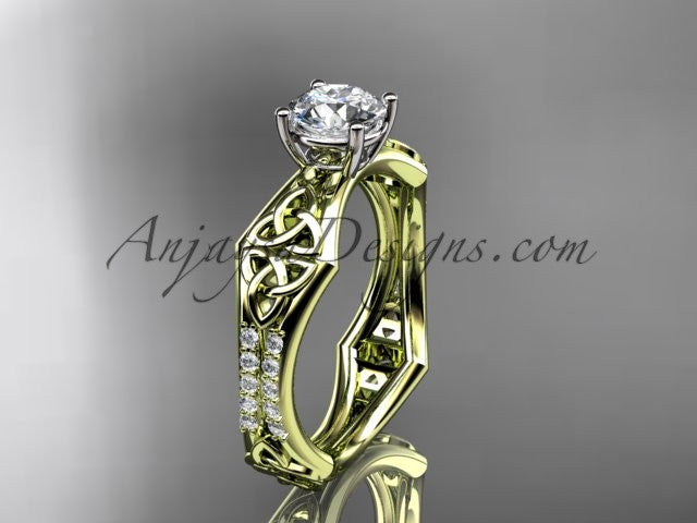 14kt yellow gold diamond celtic trinity ring, triquetra ring, engagement ring, CT7353 - AnjaysDesigns
