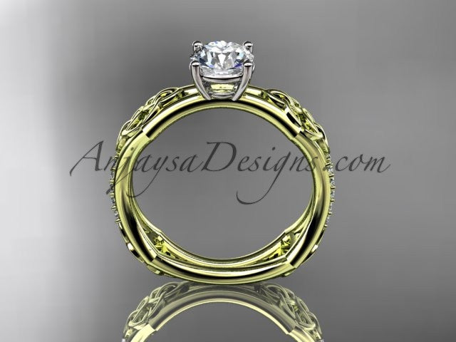 "14kt yellow gold diamond celtic trinity ring, triquetra ring, engagement ring with a ""Forever One"" Moissanite center stone CT7353 - AnjaysDesigns"