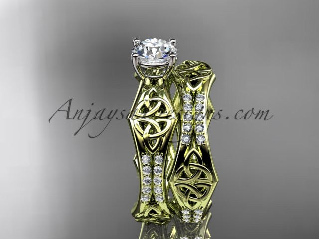 14kt yellow gold diamond celtic trinity ring, triquetra ring, engagement set, CT7353S - AnjaysDesigns