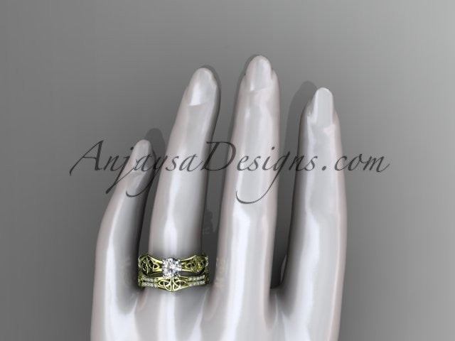 "14kt yellow gold diamond celtic trinity ring, triquetra ring, engagement set with a ""Forever One"" Moissanite center stone CT7353S - AnjaysDesigns"