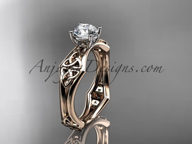 "14kt rose gold celtic trinity ring, triquetra ring, engagement ring with a ""Forever One"" Moissanite center stone CT7356 - AnjaysDesigns"