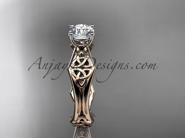 14kt rose gold celtic trinity ring, triquetra ring, engagement ring, CT7356 - AnjaysDesigns
