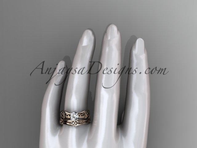 14kt rose gold celtic trinity ring, triquetra ring, engagement set, CT7356S - AnjaysDesigns