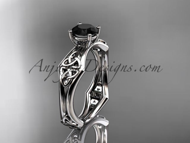 14kt white gold celtic trinity ring, triquetra ring, engagement ring with a Black Diamond center stone CT7356 - AnjaysDesigns