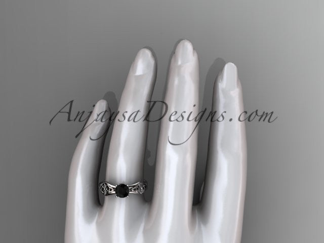 platinum celtic trinity ring, triquetra ring, engagement ring with a Black Diamond center stone CT7356 - AnjaysDesigns