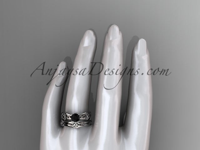 platinum celtic trinity ring, triquetra ring, engagement set with a Black Diamond center stone CT7356S - AnjaysDesigns