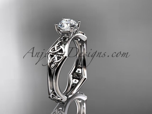 "platinum celtic trinity ring, triquetra ring, engagement ring with a ""Forever One"" Moissanite center stone CT7356 - AnjaysDesigns"