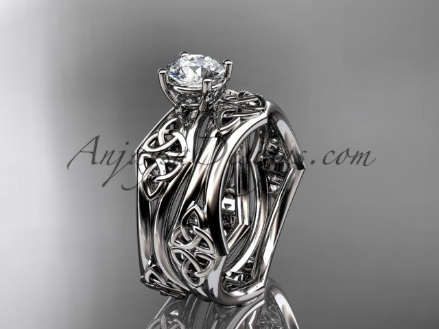 platinum celtic trinity ring, triquetra ring, engagement set, CT7356S - AnjaysDesigns
