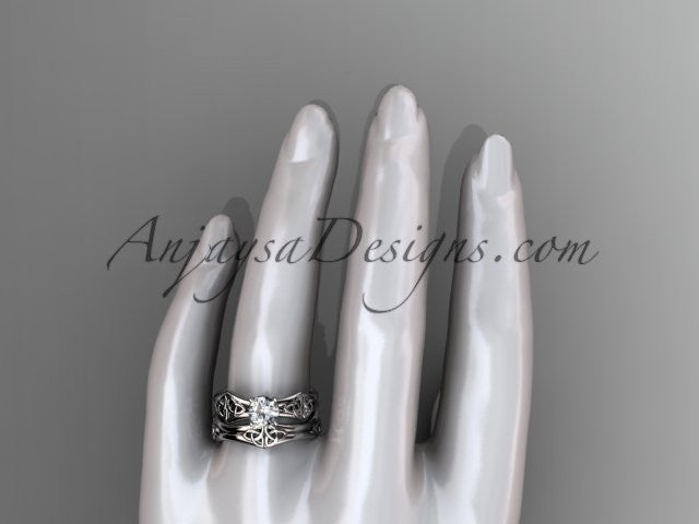 "14kt white gold celtic trinity ring, triquetra ring, engagement set with a ""Forever One"" Moissanite center stone CT7356S - AnjaysDesigns"