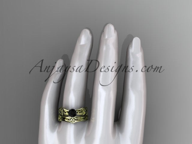 14kt yellow gold celtic trinity ring, triquetra ring, engagement set with a Black Diamond center stone CT7356S - AnjaysDesigns