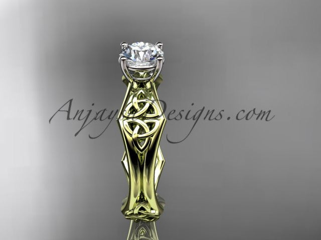 14kt yellow gold celtic trinity ring, triquetra ring, engagement ring, CT7356 - AnjaysDesigns