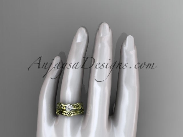 14kt yellow gold celtic trinity ring, triquetra ring, engagement set, CT7356S - AnjaysDesigns