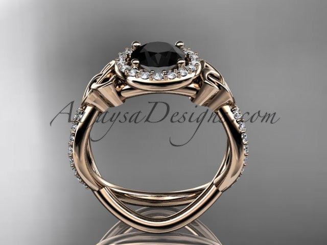 14kt rose gold diamond celtic trinity ring, triquetra ring, Irish engagement ring with a Black Diamond center stone CT7374 - AnjaysDesigns