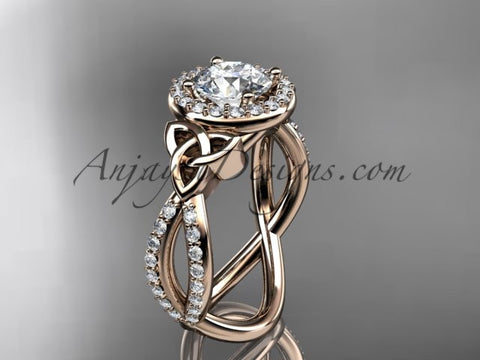 "14kt rose gold diamond celtic trinity ring, triquetra ring, Irish engagement ring with a ""Forever One"" Moissanite center stone CT7374 - AnjaysDesigns"