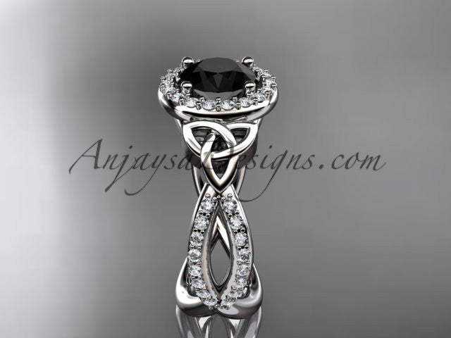 14kt white gold diamond celtic trinity ring, triquetra ring, Irish engagement ring with a Black Diamond center stone CT7374 - AnjaysDesigns