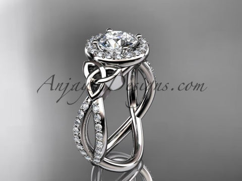 "platinum diamond celtic trinity ring, triquetra ring, Irish engagement ring with a ""Forever One"" Moissanite center stone CT7374 - AnjaysDesigns"