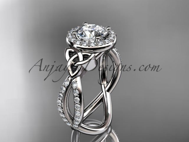 "14kt white gold diamond celtic trinity ring, triquetra ring, Irish engagement ring with a ""Forever One"" Moissanite center stone CT7374 - AnjaysDesigns"