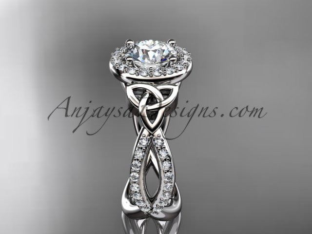 14kt white gold diamond celtic trinity ring, triquetra ring, Irish engagement ring CT7374 - AnjaysDesigns