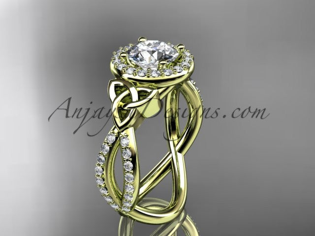 "14kt yellow gold diamond celtic trinity ring, triquetra ring, Irish engagement ring with a ""Forever One"" Moissanite center stone CT7374 - AnjaysDesigns"