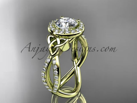 14kt yellow gold diamond celtic trinity ring, triquetra ring, Irish engagement ring CT7374 - AnjaysDesigns