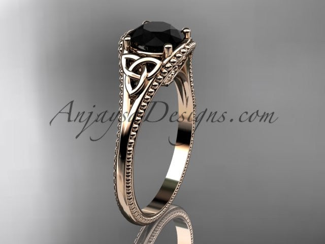 14kt rose gold celtic trinity knot wedding ring, engagement ring with a Black Diamond center stone CT7375 - AnjaysDesigns